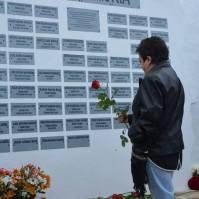 Ana López, emocionada durante la inauguración del Lugar de la Memoria Histórica.
