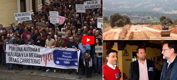 Masiva manifestación en Ronda. Arriba a la derecha, detalle de las obras de la variante de Arriate. Abajo, el presidente español, Mariano Rajoy, reunido con portavoces de la plataforma.
