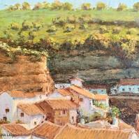 En 1985 Juan Marín pintó este paisaje urbano de Setenil, en el que se suceden la calle Mina en primer plano y la calle Jabonerías. Foto: ÁNGEL MEDINA LAÍN.
