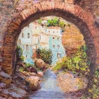 """El antiguo puente de piedra de """"Moellete"""", que une las Cuevas del Sol y de la Sombra, antes de su reconstrucción por la canalización del Guadalporcún. Foto: ÁNGEL MEDINA LAÍN"""