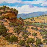 El paisaje de Los Montecillos desde las Cuevas Román, pintado en 1994. Foto: ÁNGEL MEDINA LAÍN.